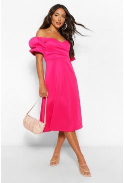 Hot pink Wrap Puff Sleeve Midi Skater Dress