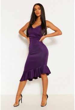 Purple Strappy Ruffle Detail Midi Dress