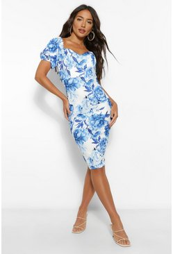 Blue Bardot Floral Puff Sleeve Midi Dress