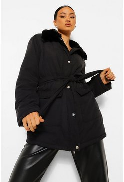 Black Faux Fur Collar Belted Puffer