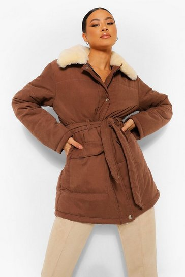 Chocolate brown Faux Fur Collar Belted Puffer