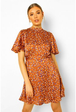 Rust orange Leopard Funnel Neck Skater Dress