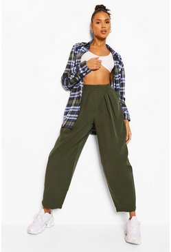 Khaki Pleat Front Oversized Woven Trousers