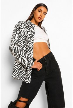 White Zebra Balloon Sleeve Denim Shirt