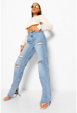 Blue Distressed Split Hem Jean