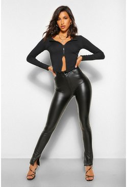 Black Leather Look Trousers With Side Split Hem