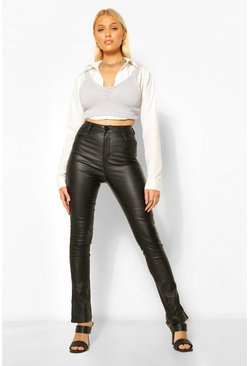 Black Coated Leather Look Trouser With Side Split Hem