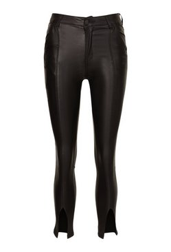 Black Coated Leather Look Trouser With Split Hem