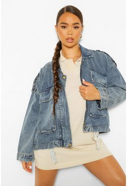 Blue Oversized Pocket Drawcord Denim Jacket