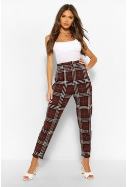 Chocolate Checked Belted Skinny Trousers