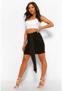 Black Ruched Wrap Front Mini Skirt