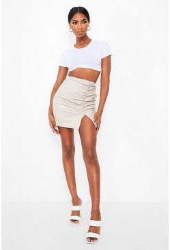 Ruched Front Leather Look Mini Skirt , Sand Бежевый