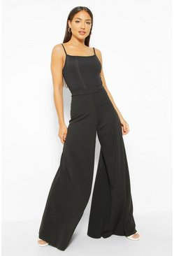 Black Super Wide Leg Trousers