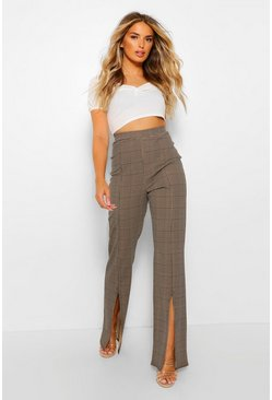 Camel Dogtooth Check Split Hem Fit And Flare Trousers
