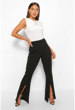 Black Split Front Fit And Flare Trousers