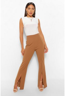 Camel beige Split Front Fit And Flare Trousers