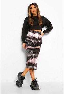 Black Satin Tie Dye Midi Slip Skirt