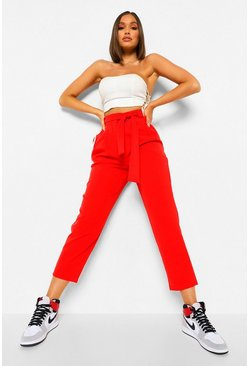 Red Tie Waist Pleat Front Turn Up Tailored Trousers