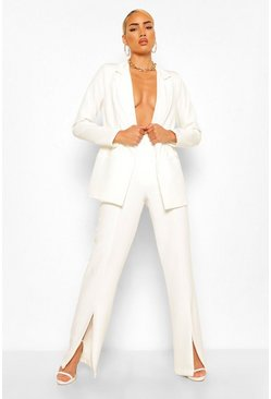 Ivory Split Hem Seam Detail Tailored Trousers
