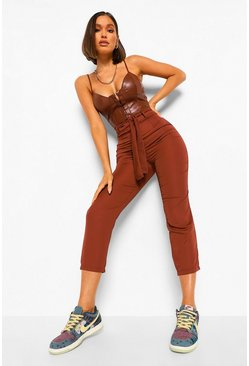 Chocolate brown Tie Waist Woven Satin Slim Fit Trousers