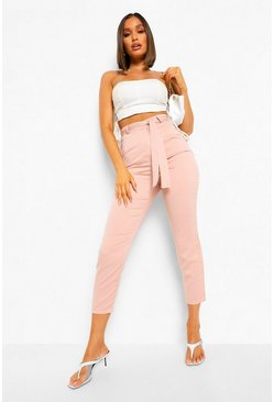 Nude Tie Waist Woven Satin Slim Fit Trousers