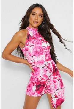 Pink High Neck Floral Asymmetric Playsuit