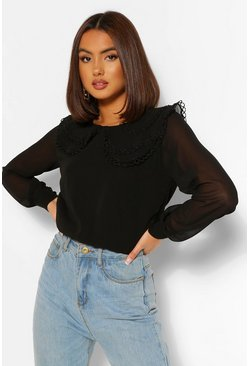 Woven Collar Jumper With Chiffon Sleeve, Black negro