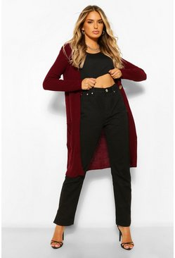Berry red Button Up Midi Cardigan
