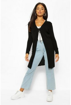 Lace Up Midi Cardigan, Black negro