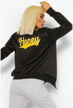 Black Honey Print Bomber Jacket
