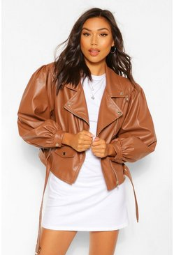Chocolate brown Oversized Sleeve Faux Leather Jacket