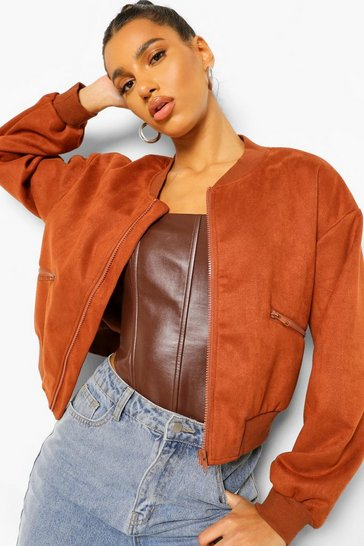Chocolate brown Suedette Bomber Jacket