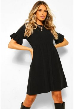 Black Textured Rib Frill Detail Smock Dress