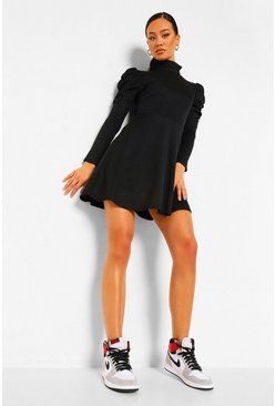Black Rib Rouche Sleeve Skater Dress