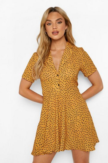 Mustard yellow Polka Dot Shirt Style Skater Dress