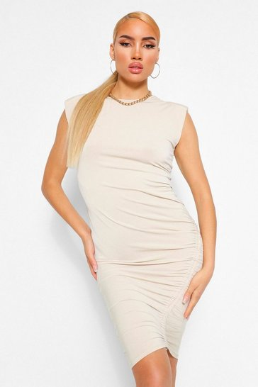 Camel beige Shoulder Pad Rouche Midi Dress
