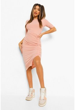 Rose pink Rib Rouched Detail Midi Dress
