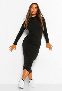 Black Soft Rib Rouched Front Midaxi Dress