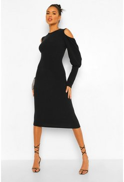 Black Rib Cut Out Shoulder Midi Dress