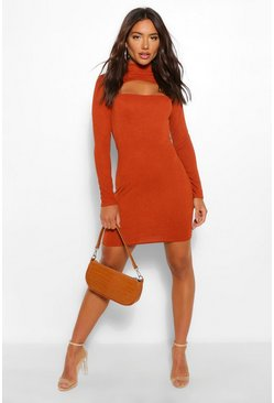 Rust orange High Neck Cut Out Mini Dress