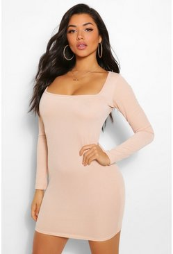 Nude Square Neck Long Sleeve Mini Dress