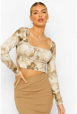 Stone beige Ruched Corset Detail Co-ord