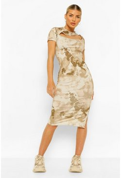 Stone beige Cut Out Midi Dress