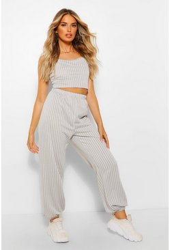 Off white Pinstripe Sweat Jogger and Crop Set