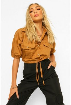 Camel beige Cotton MIx Mock Horn Button Drawstring Shirt