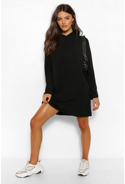 Black Recycled Rin Hooded Sweat Dress