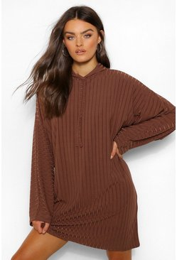 Recycled Rin Hooded Sweat Dress, Chocolate marron