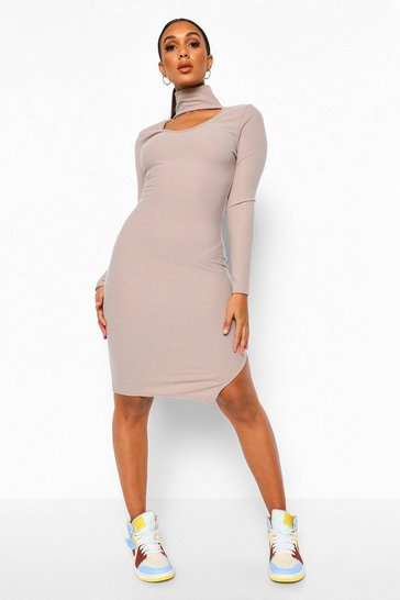 Caramel beige Recycled High Neck Cut Out Midi Dress