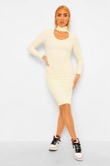 Ecru white Recycled High Neck Cut Out Midi Dress