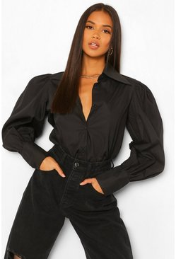 Black Cotton Mix Pointed Collar Shirt